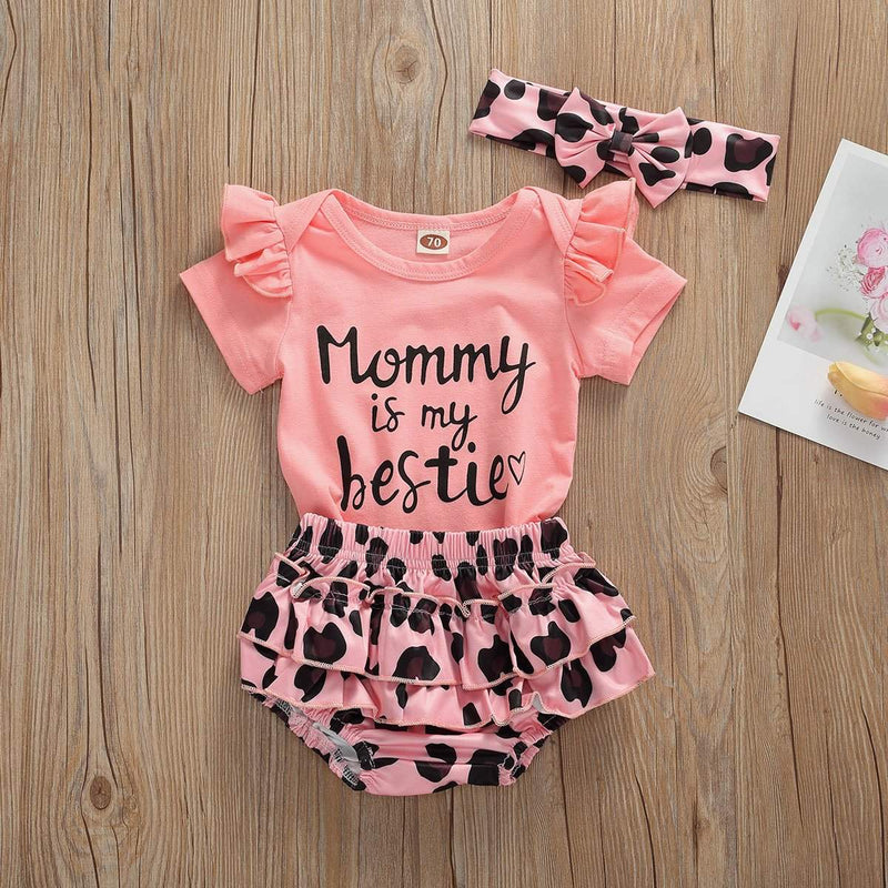 Newborn Infants Baby Girls Clothing Pink Short Sleeve Bodysuit ManiBaa