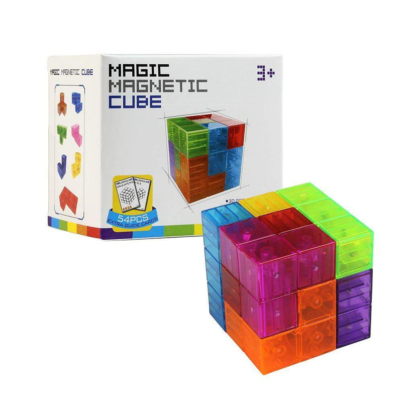 Toy Magnetic Cube Building Blocks 3D Magnet Tile 54pcs Guide Cards Intelligence Toys For Children ManiBaa