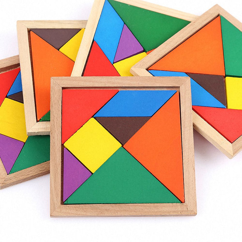 7 Piece Montessori Wooden Tangram Colorful Jigsaw Puzzle