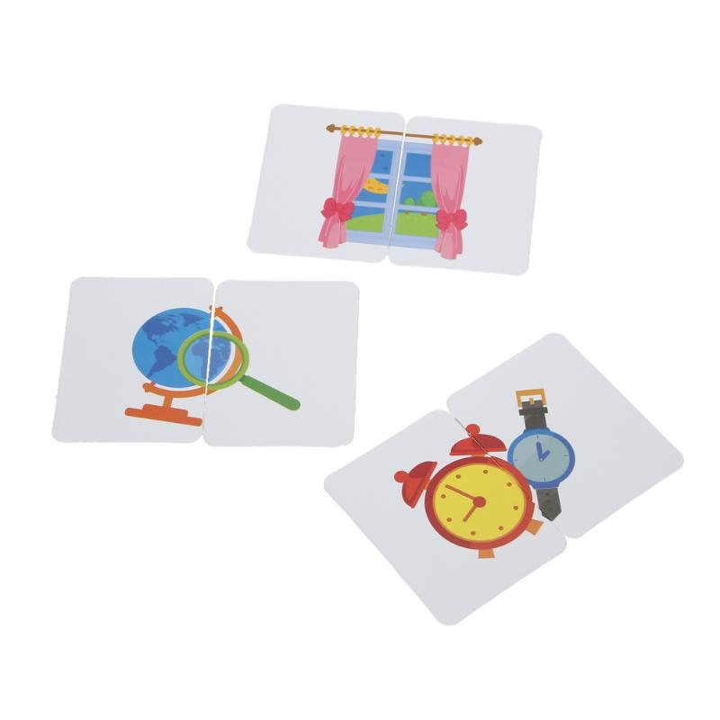 Baby Kids Cognition Puzzle Toys Toddler Iron Box Cards Matching Game Cognitive Card