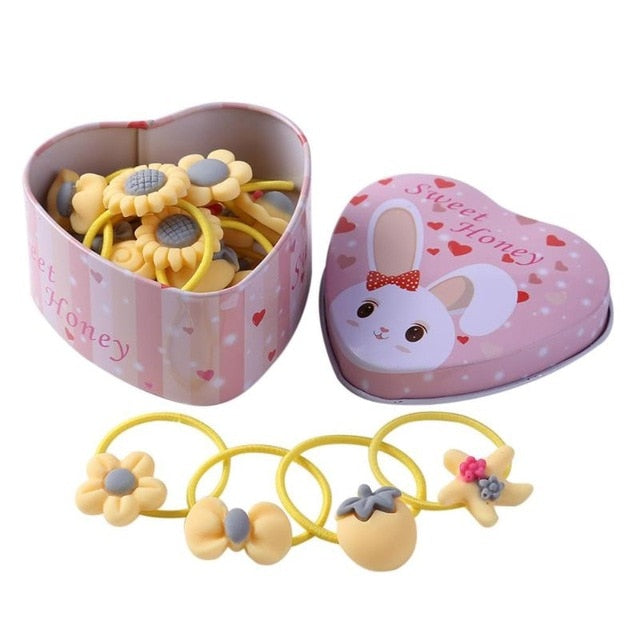 20 pcs Girls Cute Elastic Hair Bands Rubber Bands with Box Scrunchies Headwear Headband