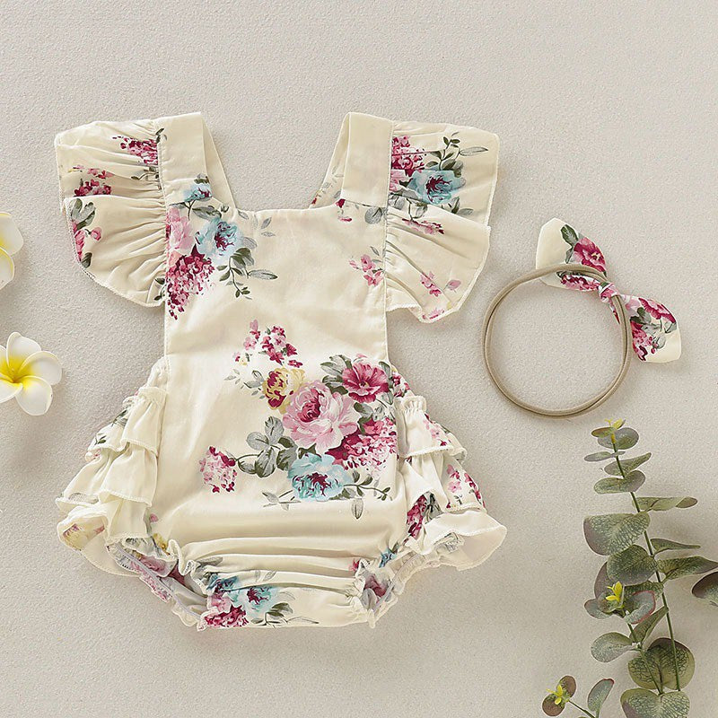 Summer Cute Baby Girls Romper Jumpsuit Headband Floral Outfits Sunsuit Set