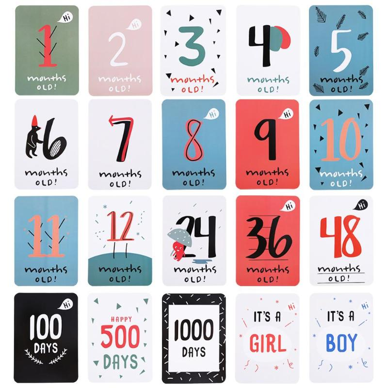 Baby Growth Milestone Commemorative Card Ianuary to December Month Days Boys Girls Photography Prop 20pcs