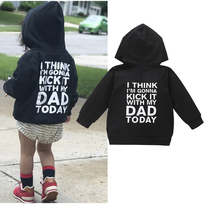 Newborn Baby Girl Boy Autumn Swearshirts Print Letter Long Sleeve Zipper Hooded Sweatshirts