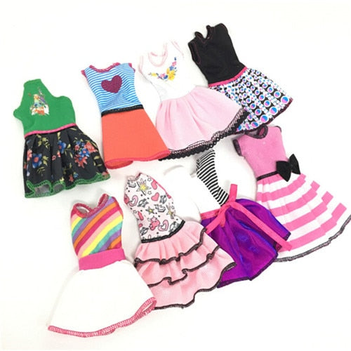 Newest Fashion Dress Beautiful Handmade Party Clothes For Barbie Doll Best Gift Toy 5 pcs