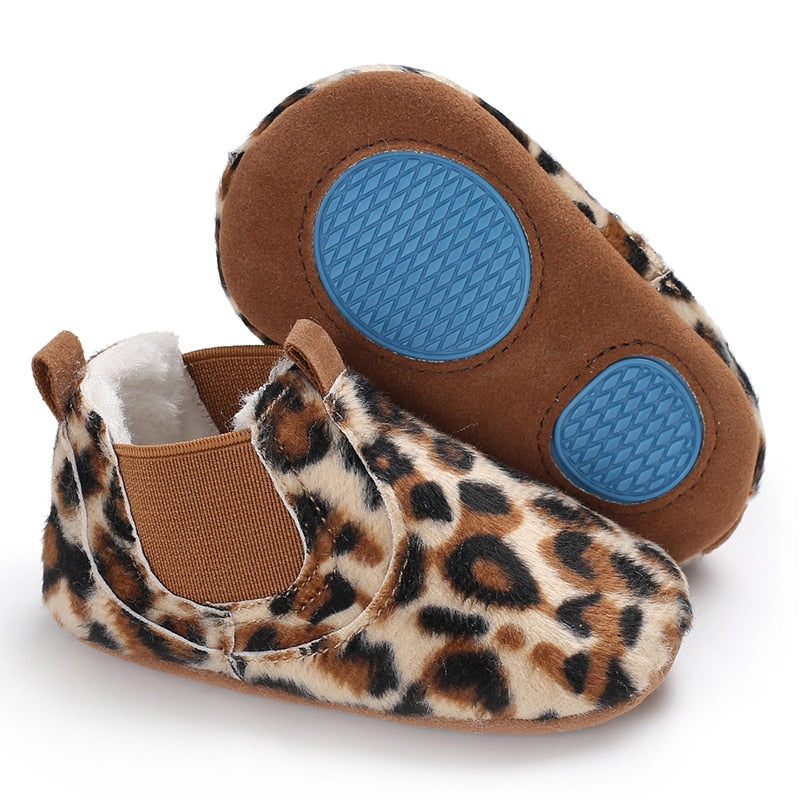 Leather shoes Newborn baby girl heart autumn lace Leopard first walker