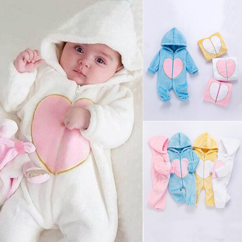 Newborn Winter Hooded Romper Baby Fleece Climbing Suit Autumn Zipper Heart Outwear Toddler Jumpsuit