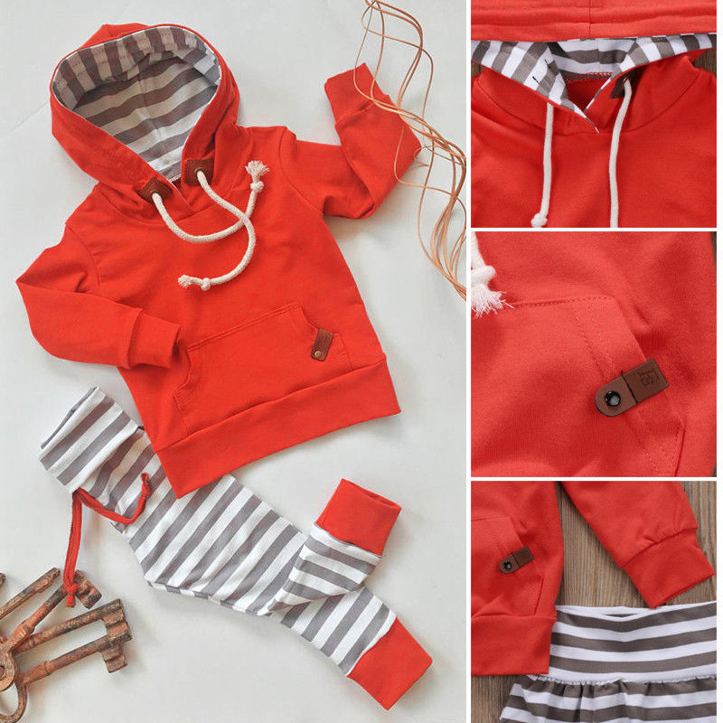 Autumn Warm Newborn Baby Boy 2pcs Set Newborn Kids Boys Tops Hoodie