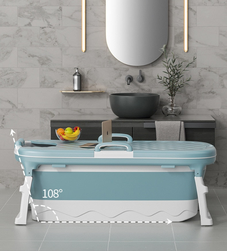 Large Portable Folding Bathtub 1.38m Adult Children's Folding Tub Massage Adult Bath Barrel With Cover
