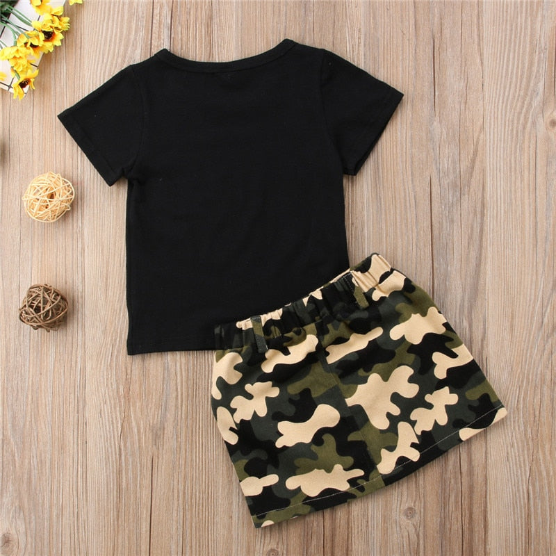 Toddler Kids Clothes Set Baby Girl Outfits Black Short Sleeve T Shirt and Camouflage Skirts 2pc Sets