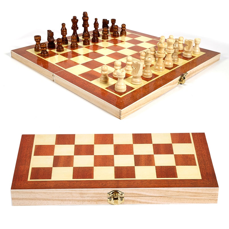 Folding Wooden International Chess Checkers Set Foldable Board Game 34*34cm