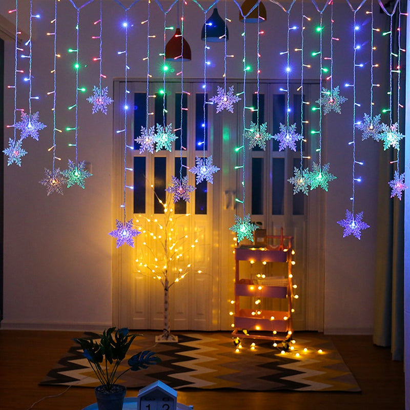 Outdoor Christmas Xmas Snowflake LED String lights Flashing Lights Curtain Light Waterproof