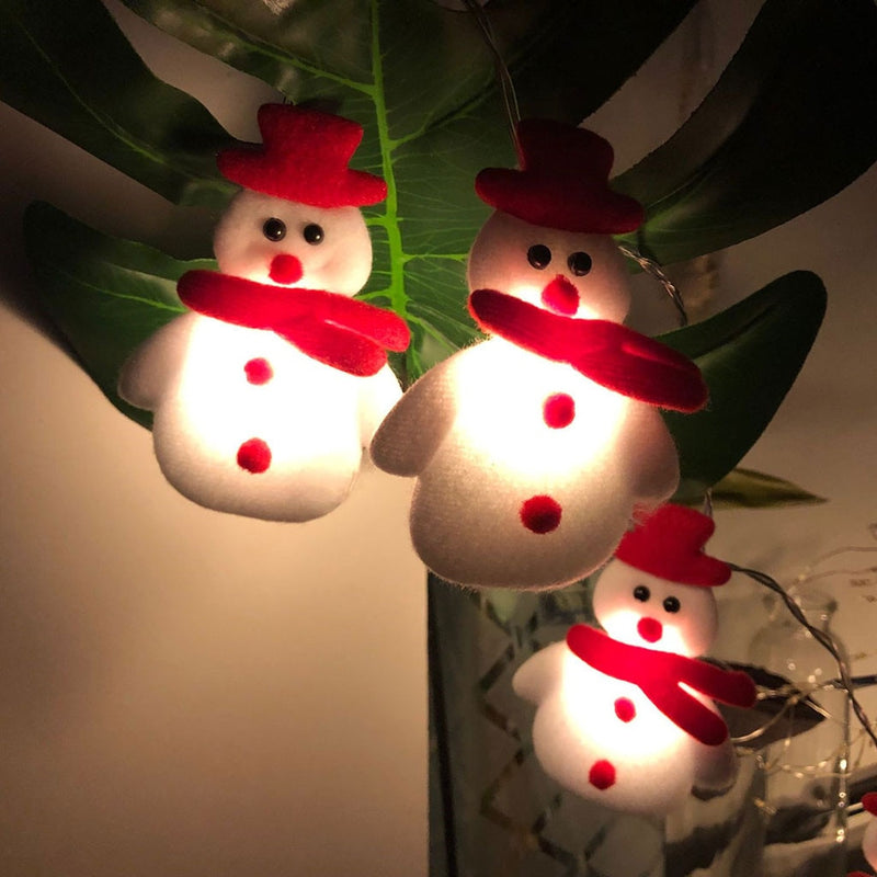 Snowman Christmas Tree LED Garland String Lights Snowflakes String Fairy Lights Hanging Ornaments