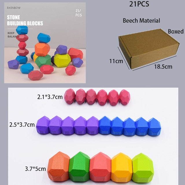 Children's Wooden Colored Stone Jenga Building Block Educational Toy Creative Nordic Style Stacking Game Rainbow Wooden Toy Gift