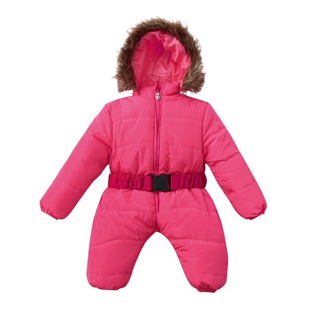 Baby Winter Clothes Girl Romper Warm jumpsuit baby overalls Long Sleeve Hooded Outerwear Snowsuit