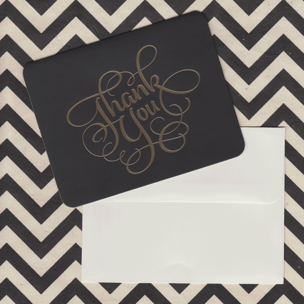 Thank You Cards Black with Gold Foil