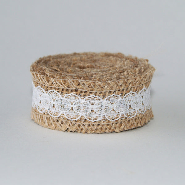 Burlap & White Lace Ribbon 2.5cm Wide - 2m length