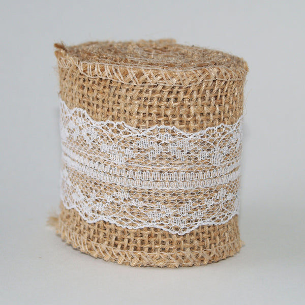 Burlap & White Lace Ribbon 6cm Wide- 2m length