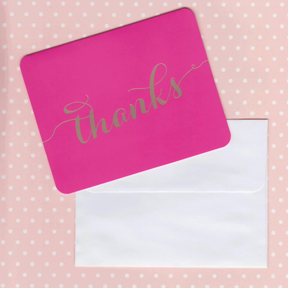 Thank You Cards Cerise and Gold Foil