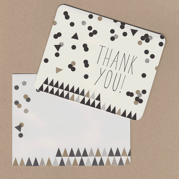 Thank You Cards Confetti Black with Gold Foil