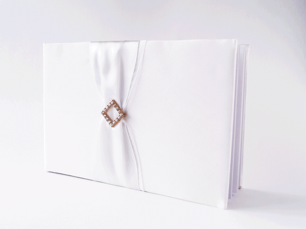 Ivory Satin with Diamante Buckle Guest Book