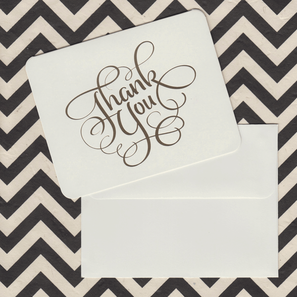 Thank You Cards Cream and Gold Foil