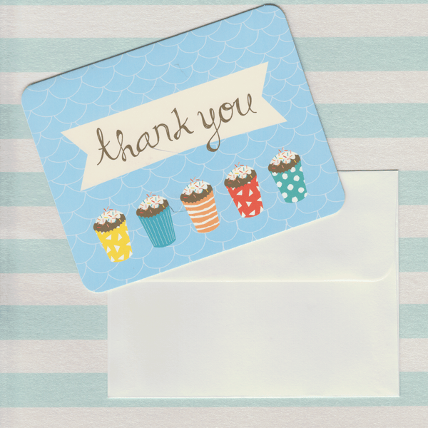 Thank You Cards Cupcakes Blue