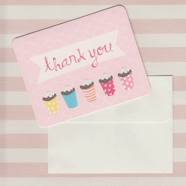 Thank You Cards Cupcake Pink