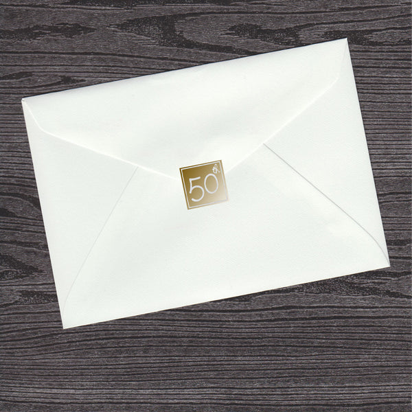 50th Birthday Gold Envelope Seal (pack of 36)