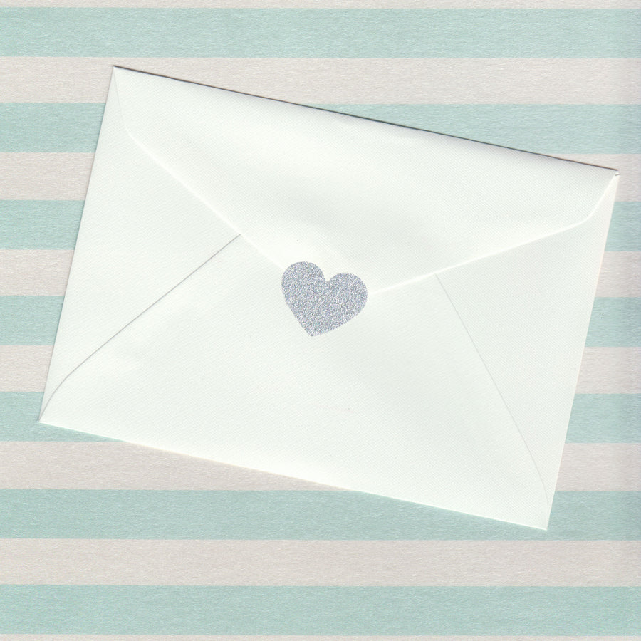 Silver Glitter Heart Envelope Seal (pack of 30)