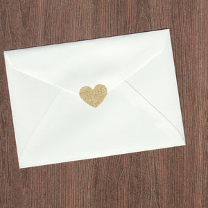 Gold Glitter Heart Envelope Seal (pack of 30)