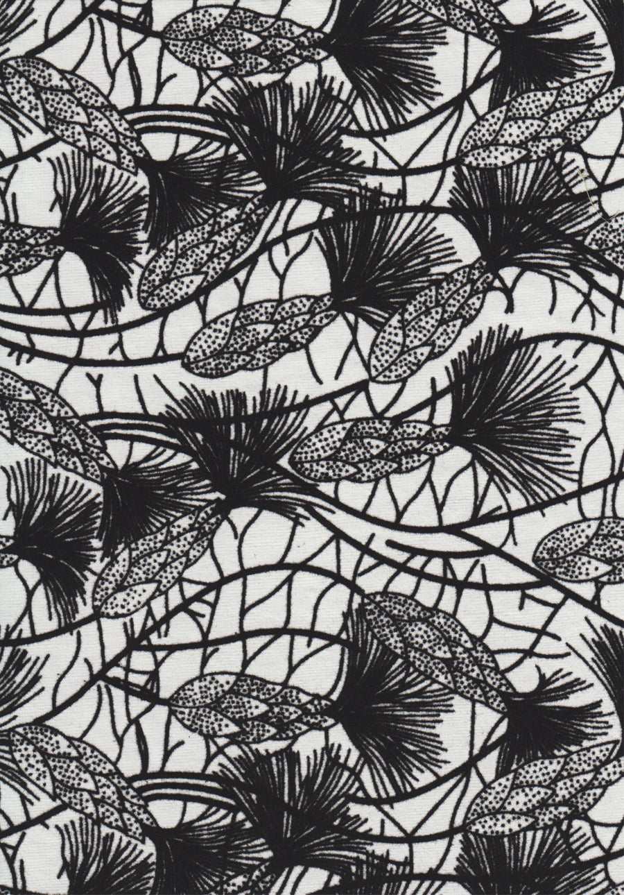 Floral Buds in Flock on White A4 Paper
