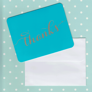 Thank You Cards Teal and Gold Foil