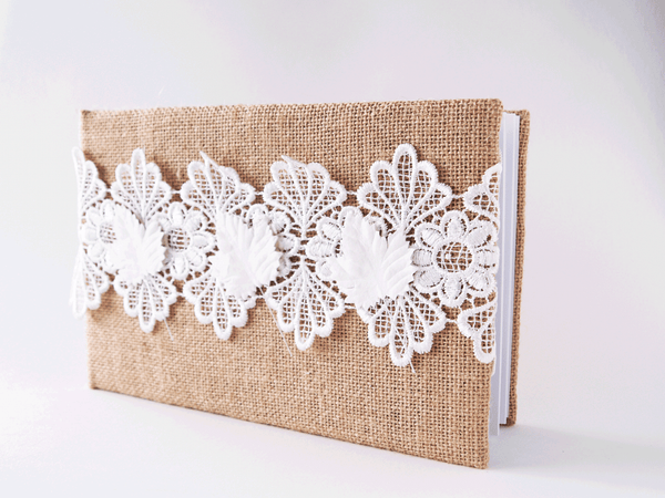 Hessian and Lace Wedding Guestbook