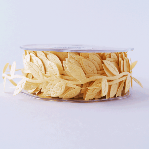 Leaf Garland Ribbon Pale Yellow - 5mt length