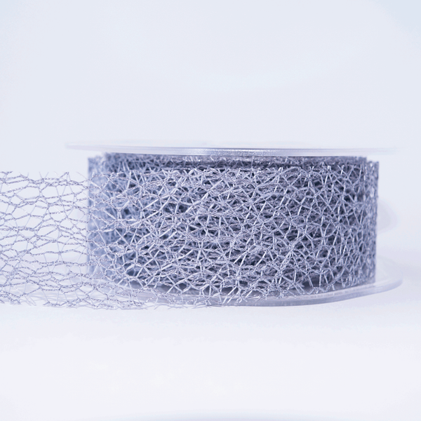 Mesh Ribbon Silver Grey - 5mt Length