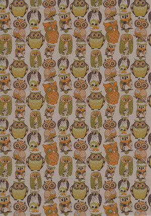 Owl patterns set on botany paper