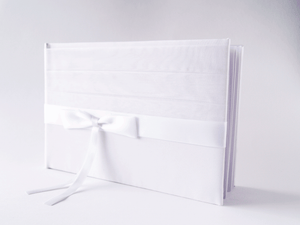 White Satin Bow Guestbook