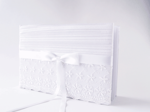 White Satin with Lace and Bow Wedding Guestbook