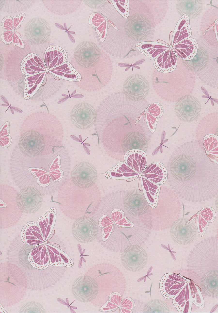Lilac butterfly and dragonfly patterned paper