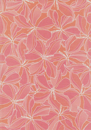 Rose pink floral design set on white paper