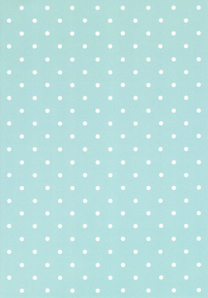 White polka on duck egg blue