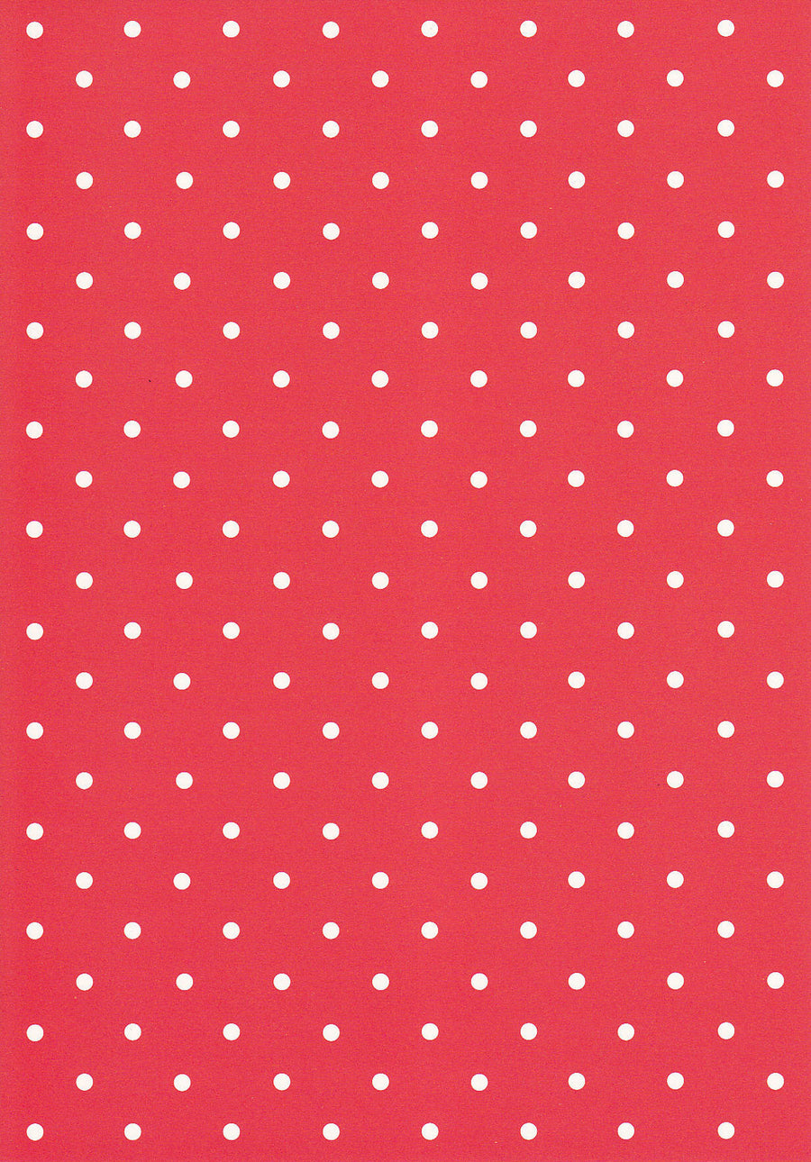 White polka on cherry red 120gsm paper