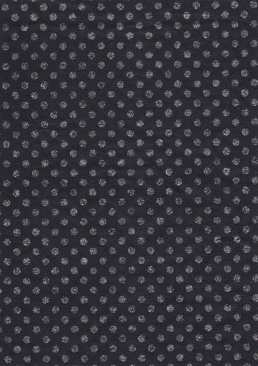 Silver Polka on Black A4 Paper