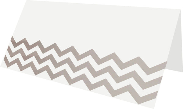 Chevron Silver Foil Place Cards