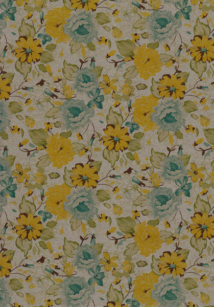 Lemon yellow floral print set on kraft 120gsm paper