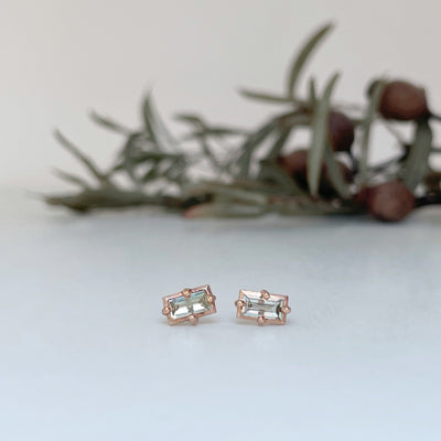 """Mosaic"" River Green Sapphire Stud Earrings Earrings JasonRee"