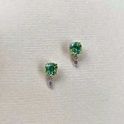 """Delaunay"" 3.18ct Green Tourmaline & Baguette Diamond Studs Earrings Jason Ree Design"