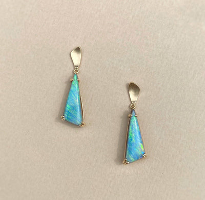 """Inlet"" Boulder Opal Gold Drop Earrings Earrings JasonRee"