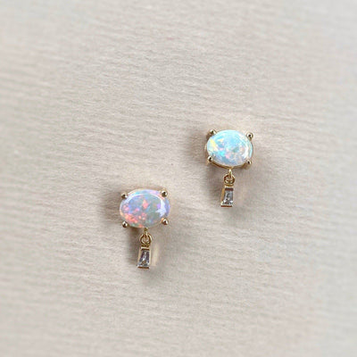 """Delaunay"" 1.18ct Red Crystal Opal & Baguette Diamond Studs Earrings JasonRee"